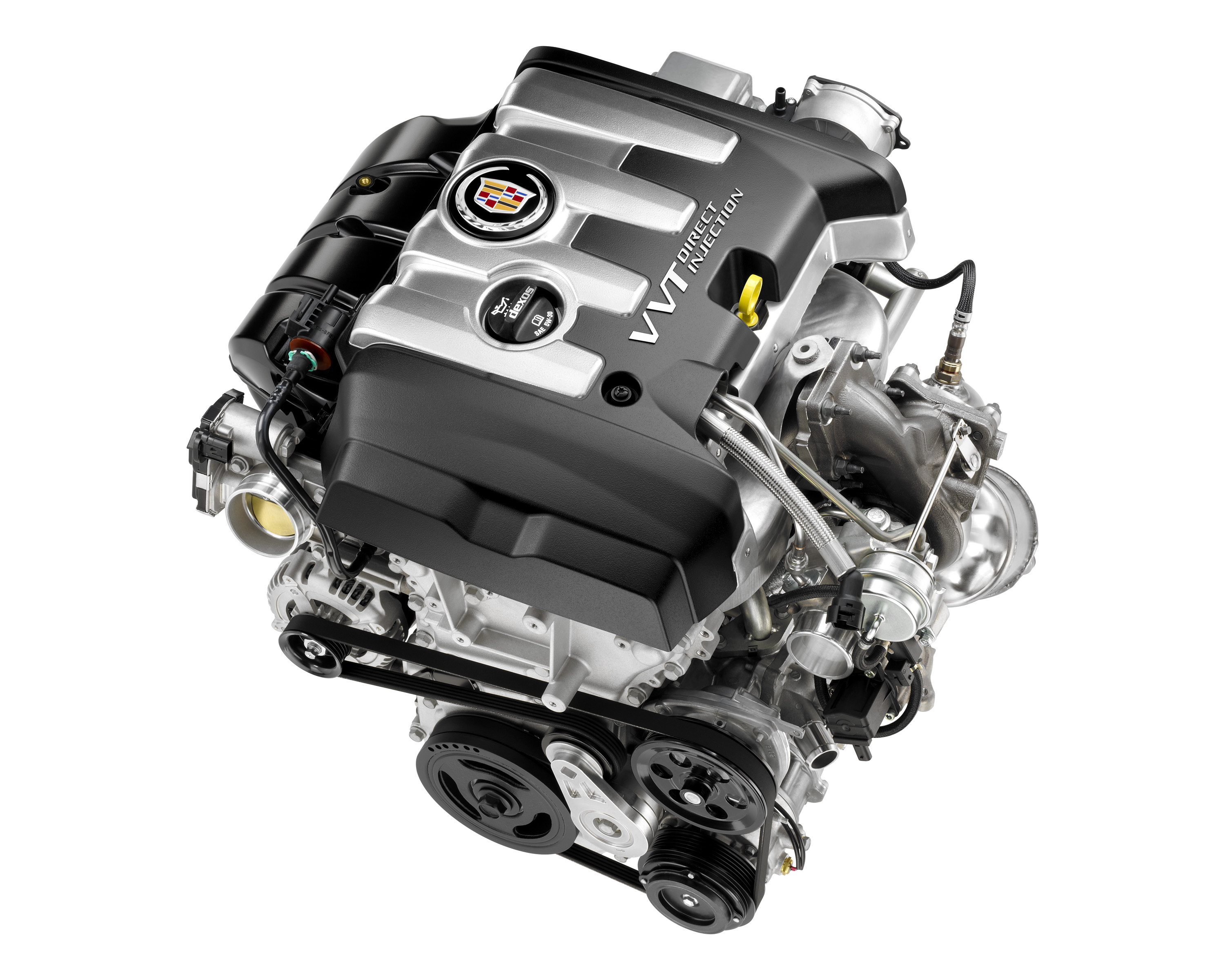 The direct injected 2.0 L turbocharged four cylinder engine, with an estimated 260 horsepower (184 kW), will be among the powertrain options available in the all-new 2013 Cadillac ATS compact luxury sedan.